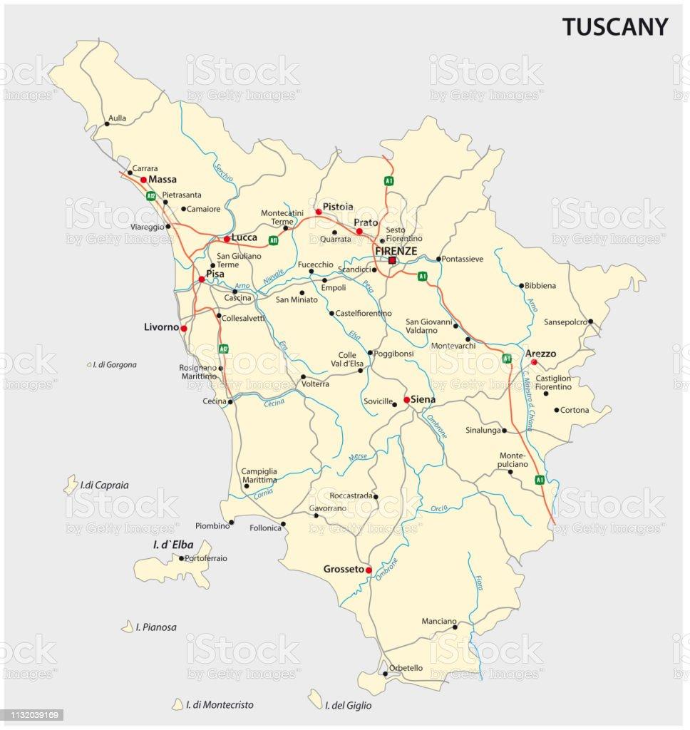 Road Vector Map Of The Italian Region Tuscany Stock Illustration ...
