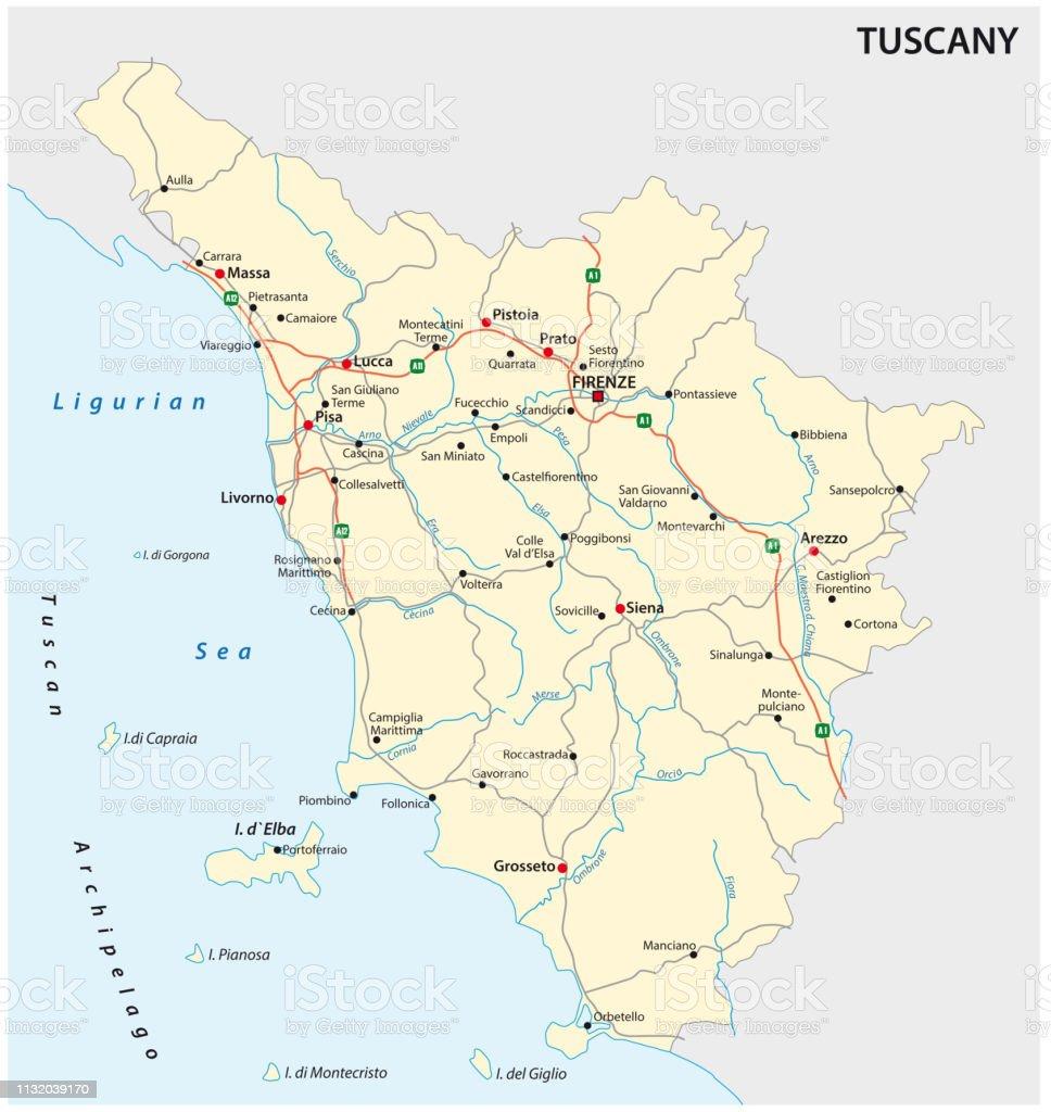 Map Of Italy Tuscany Region.Road Vector Map Of The Italian Region Tuscany Stock Vector Art