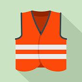 Road vest icon, flat style