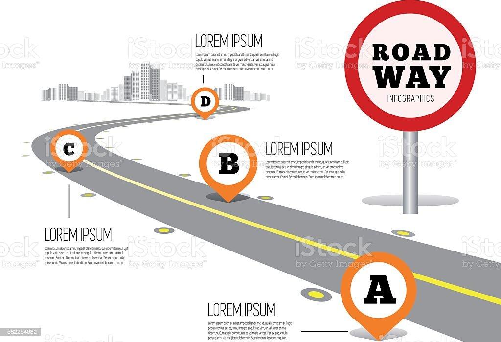 Road way design infographics. vector art illustration