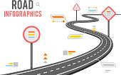 Road way infographics design signs vector illustration