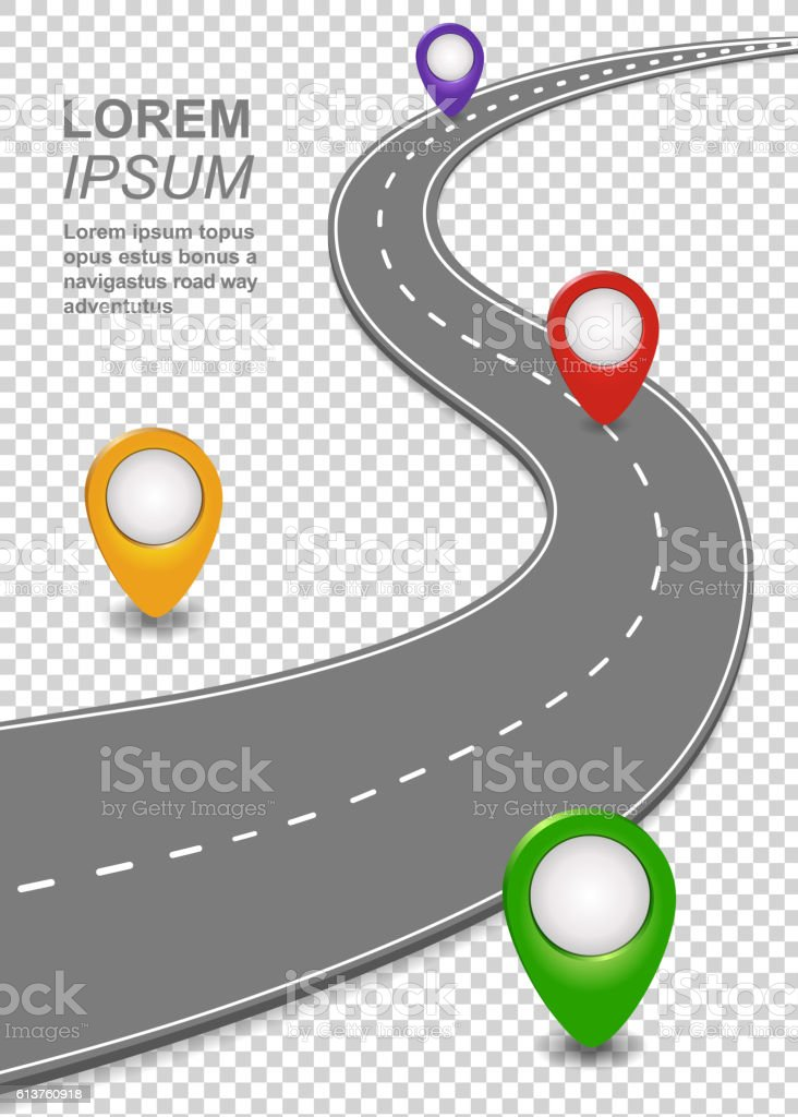 Road way navigation infographic. Highway Template vector art illustration