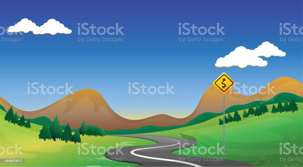Road with a yellow signage vector art illustration