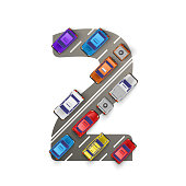 Road with cars in the form of number two. Vector illustration
