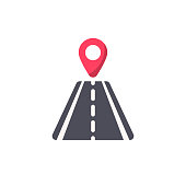 Road with Locator Flat Icon.