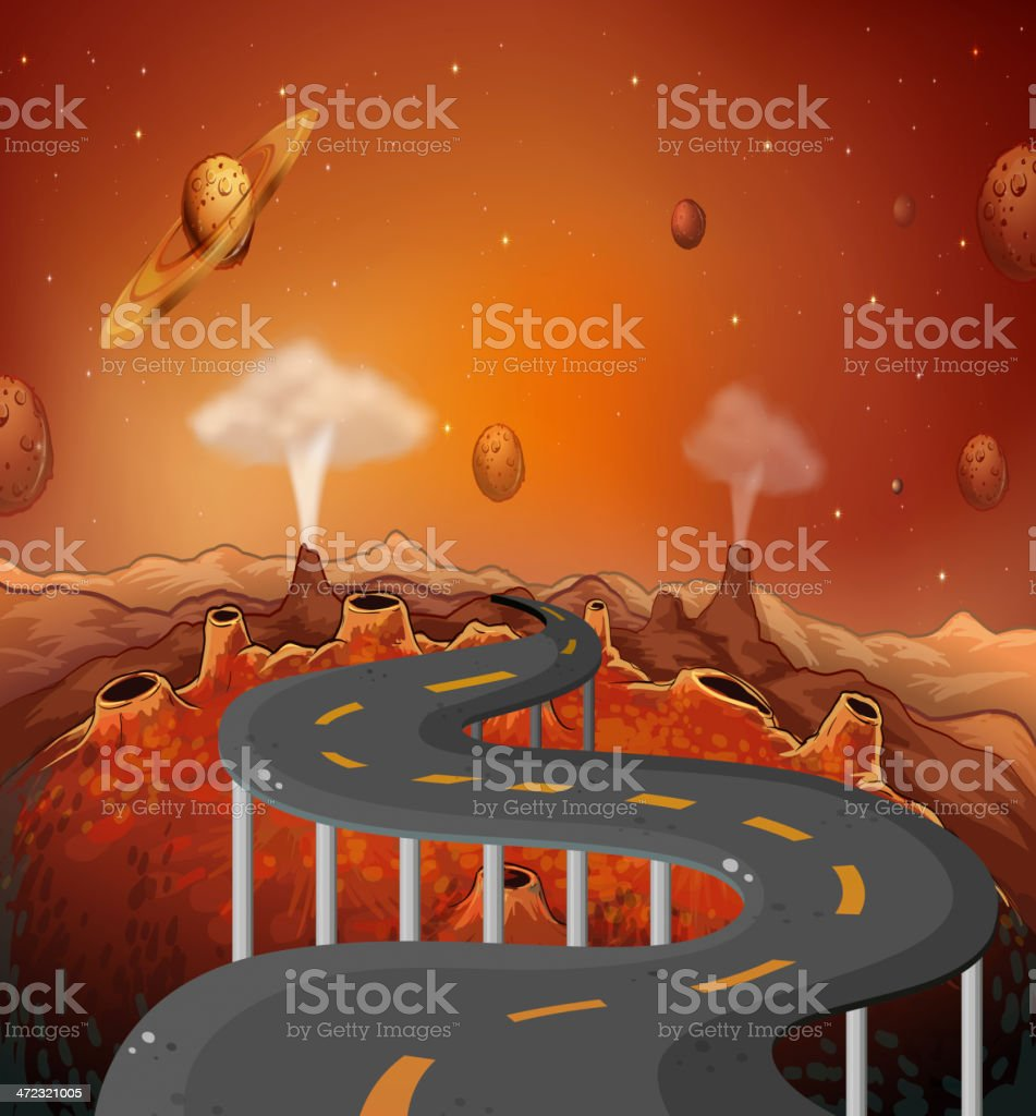road with planets in the outer space royalty-free stock vector art