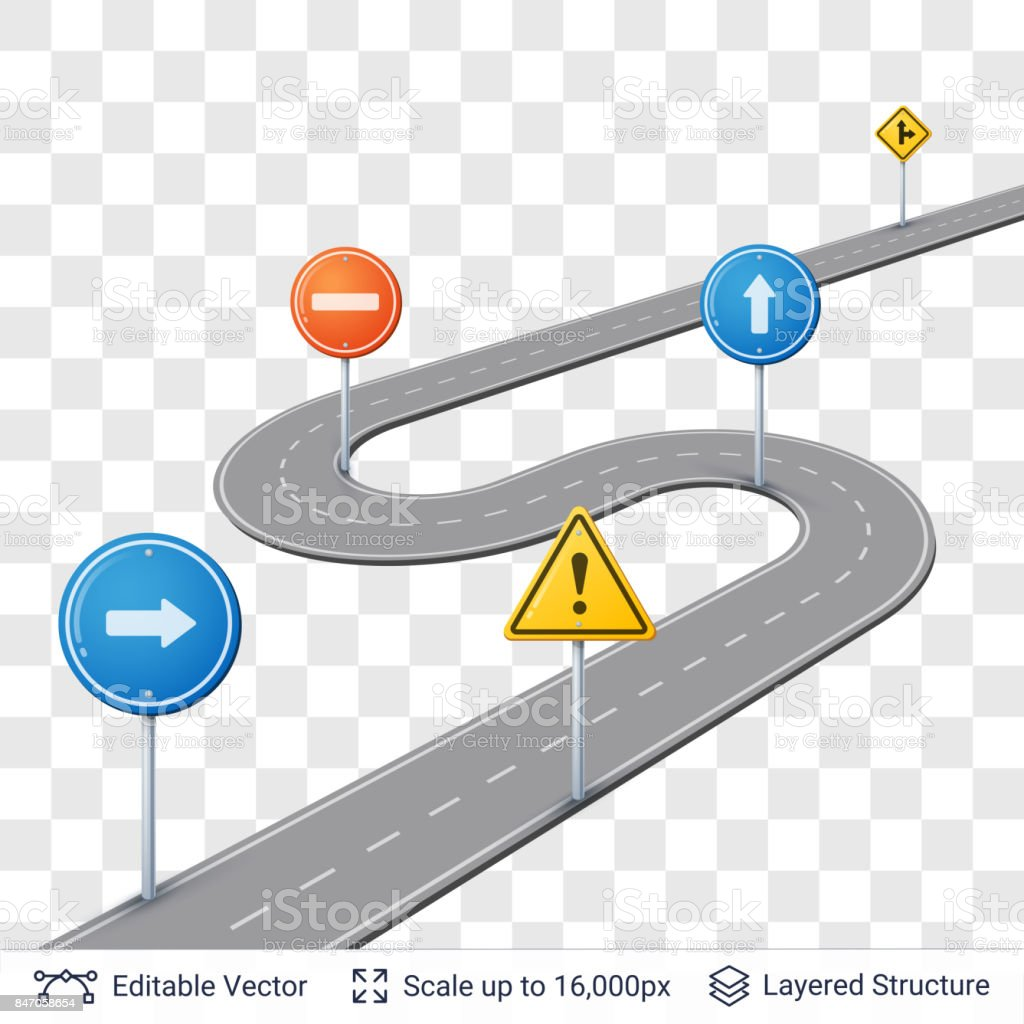 Road with traffic signs. vector art illustration