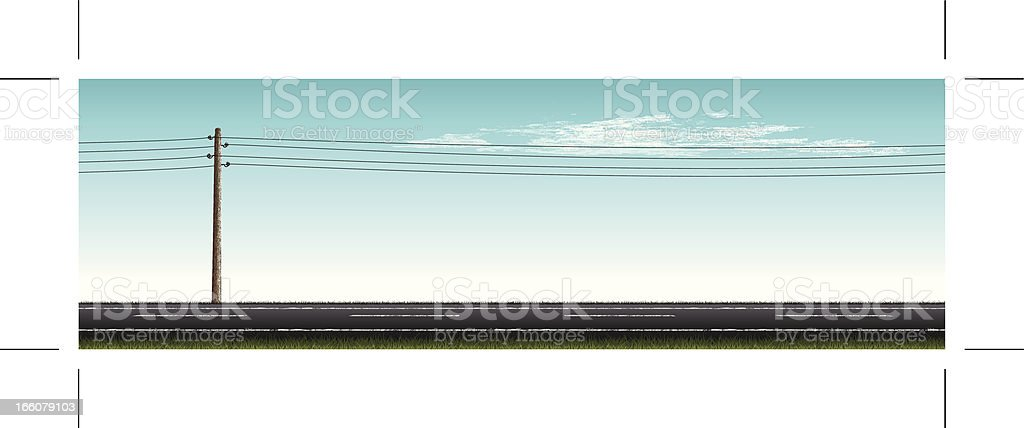 road with vintage power pole and clouds vector art illustration