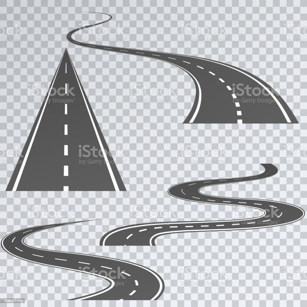 Road with white stripes on a plaid background. vector art illustration