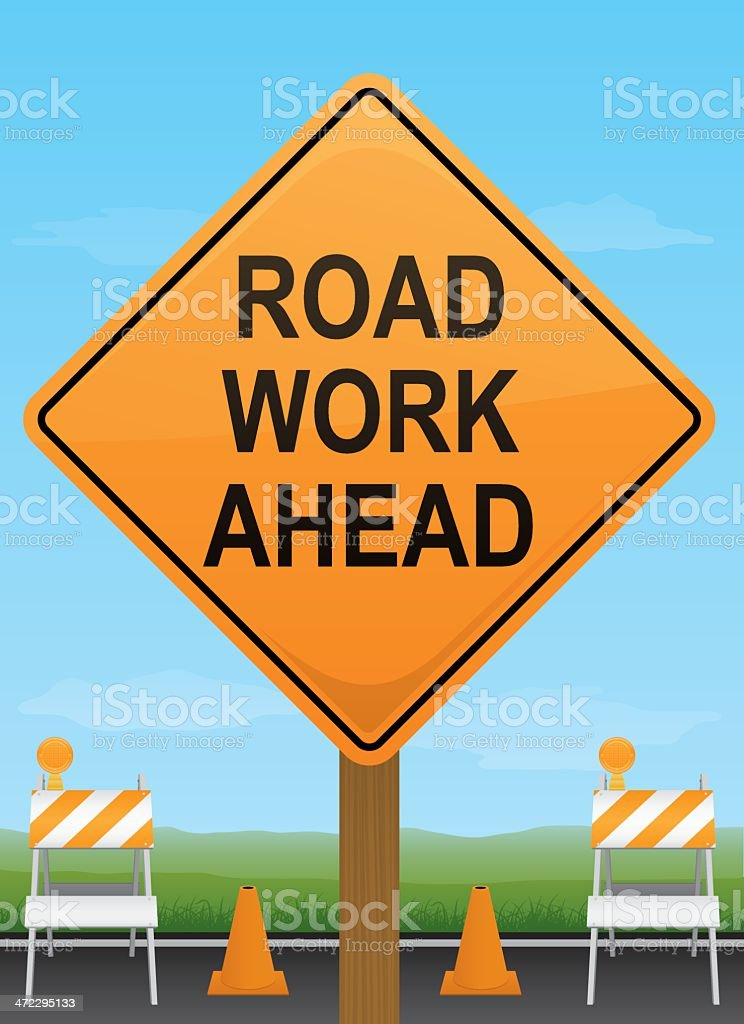 Road Work Ahead Sign royalty-free road work ahead sign stock vector art & more images of boundary