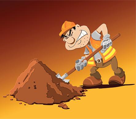 Road Work Cartoon Man Shovel-vektorgrafik och fler bilder på Ansträngning