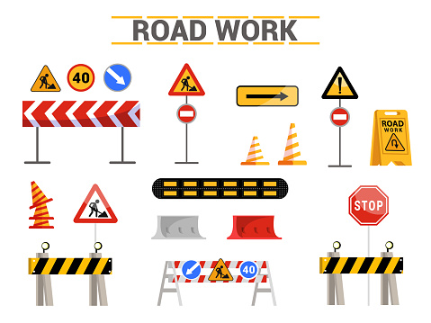 Road work signs flat illustrations set