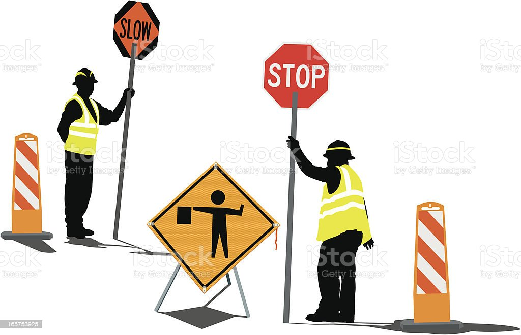 road workers with stop slow signs warning and barriers royalty free road workers with