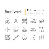 Road works pixel perfect linear icons set. Roadsign for construction. Worker in safety helmet. Customizable thin line contour symbols. Isolated vector outline illustrations. Editable stroke