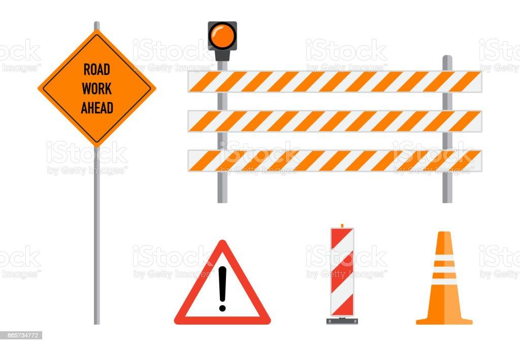 road works signs set flat vector illustration work road