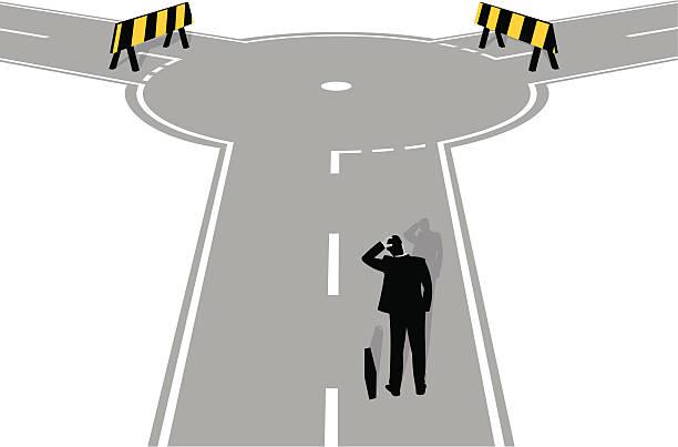 illustrations, cliparts, dessins animés et icônes de route barrée à l'avance - rond point