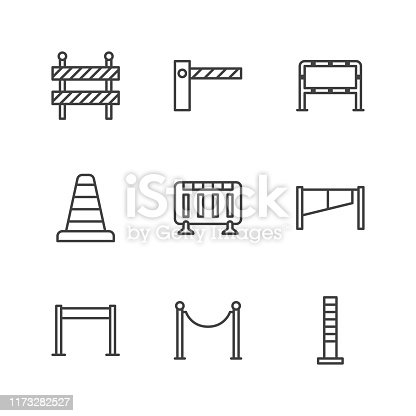Roadblock flat line icons set. Barrier, crowd control barricades, rope stanchion vector illustrations. Outline signs for pedastrian safety, roadwork. Pixel perfect 64x64. Editable Strokes.