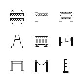 Roadblock flat line icons set. Barrier, crowd control barricades, rope stanchion vector illustrations. Outline signs for pedastrian safety, roadwork. Pixel perfect 64x64. Editable Strokes