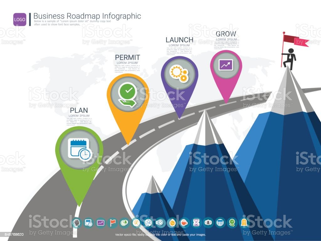Roadmap timeline infographic design template, Key success and presentation of project ambitions, Can be used roadmap management for any business plan to achieving your project goals is clear to you. vector art illustration