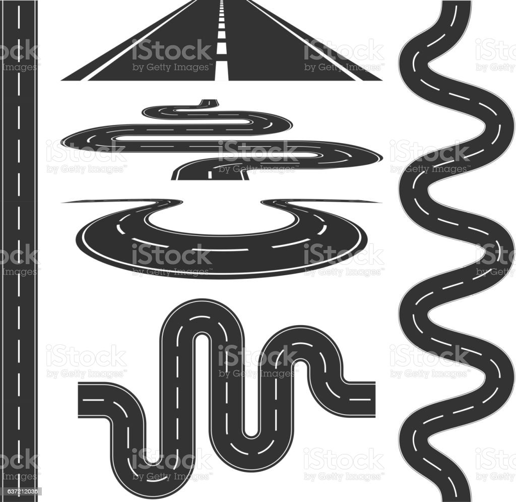 Roads and highways icons set vector illustration vector art illustration