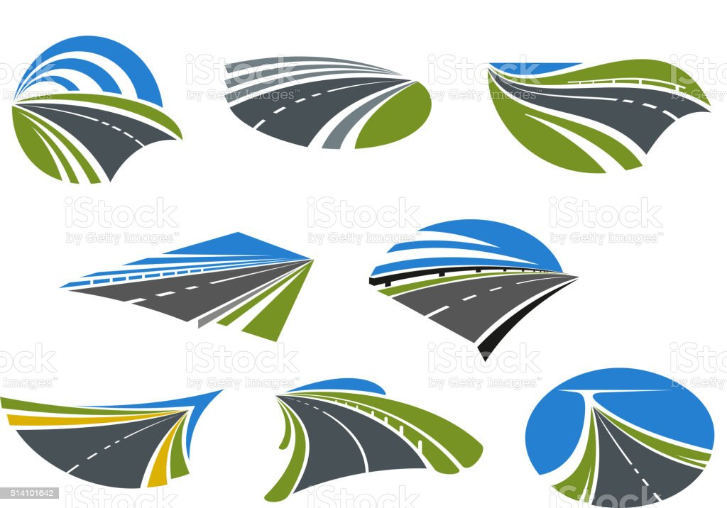 Roads and speed highways icons vector art illustration