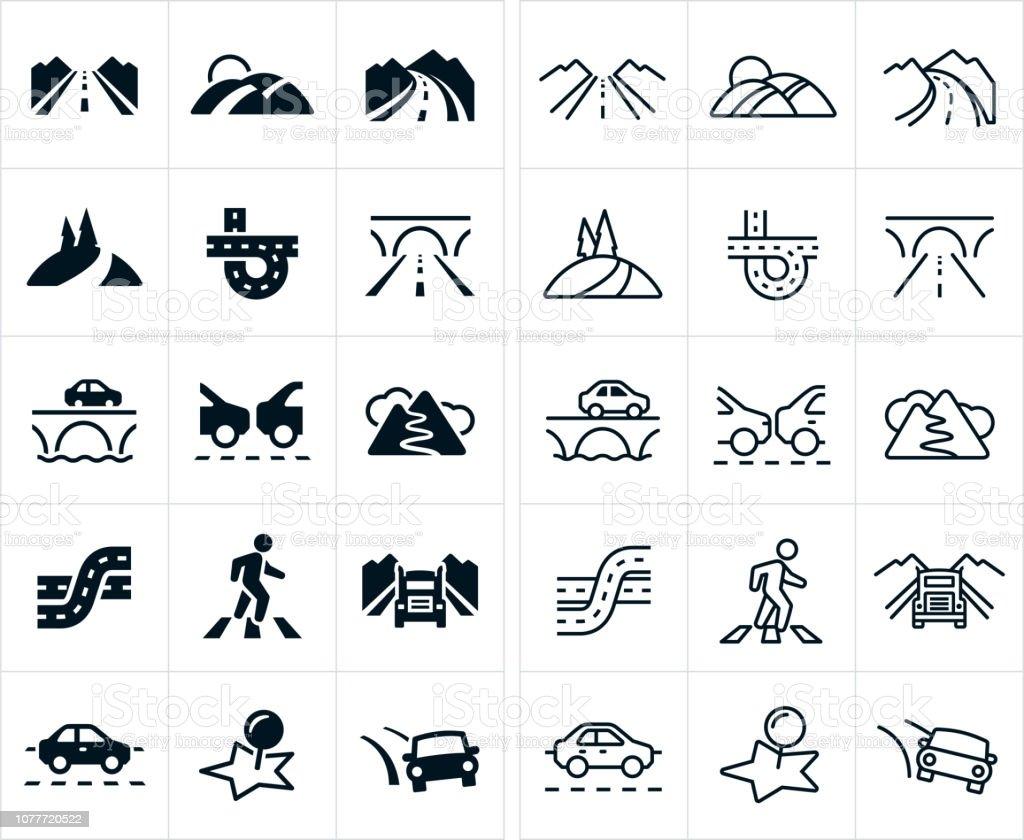 Roads Icons - arte vettoriale royalty-free di Arrivo