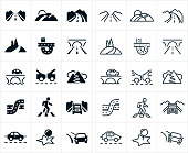 A set of roads icons. The icons include country roads, freeways and interstates, bridge, mountain roads, traffic and a crosswalk to name a few.