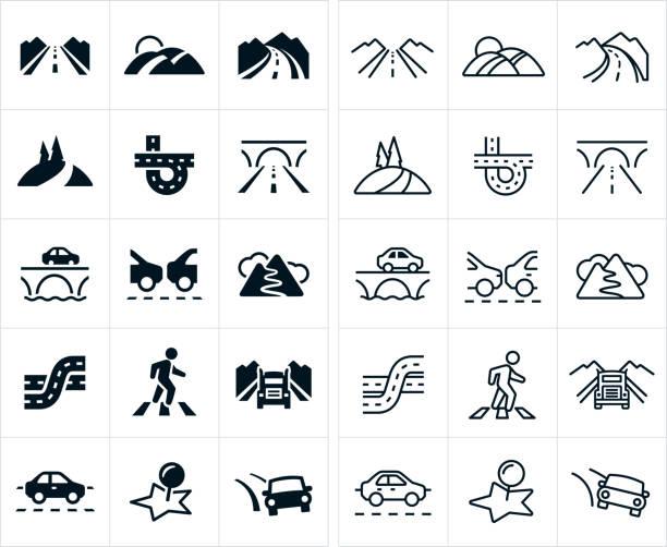 ilustraciones, imágenes clip art, dibujos animados e iconos de stock de iconos de los caminos - vía