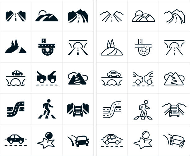 stockillustraties, clipart, cartoons en iconen met de pictogrammen van de wegen - weg