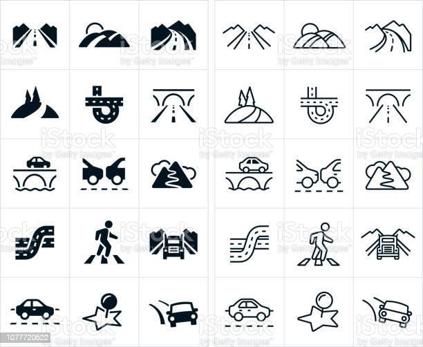 Roads Icons - Immagini vettoriali stock e altre immagini di Arrivo