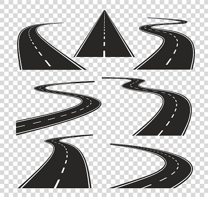 Roads in perspective. Bended pathway road curved city street to horizon. Journey asphalt highway isolated vector