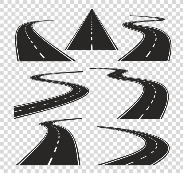 illustrazioni stock, clip art, cartoni animati e icone di tendenza di roads in perspective. bended pathway road curved city street to horizon. journey asphalt highway isolated vector - strada