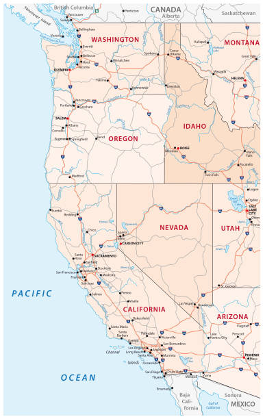 Roads, political and administrative map of the Western United States of America Roads, political and administrative vector map of the Western United States of America western usa stock illustrations