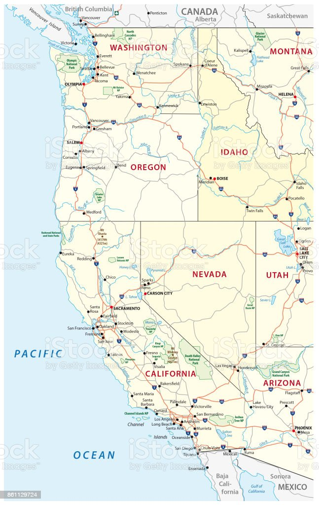 Roads Political And Administrative Map Of The Western United States ...