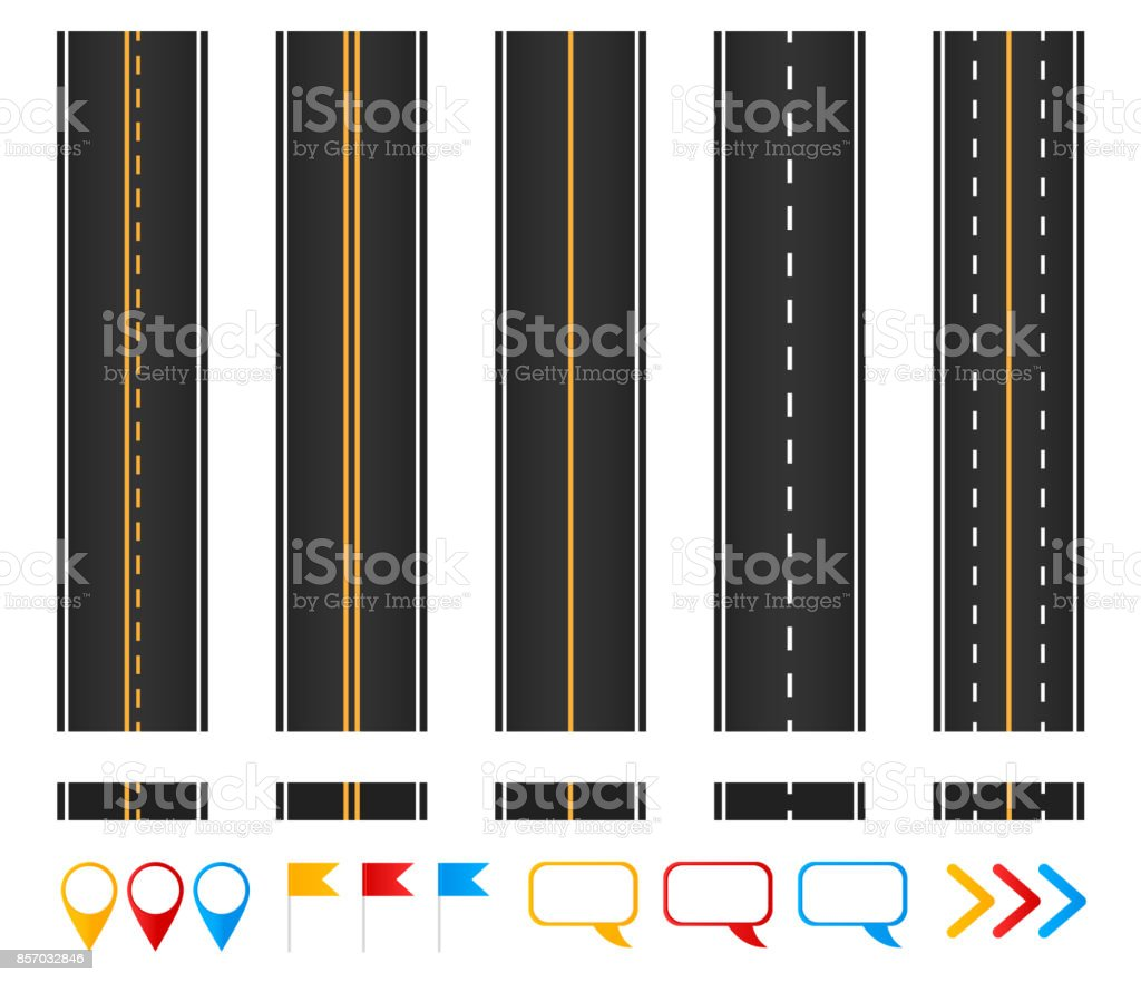 Roads. Set of seamless highways, brush templates and marking design elements. vector art illustration