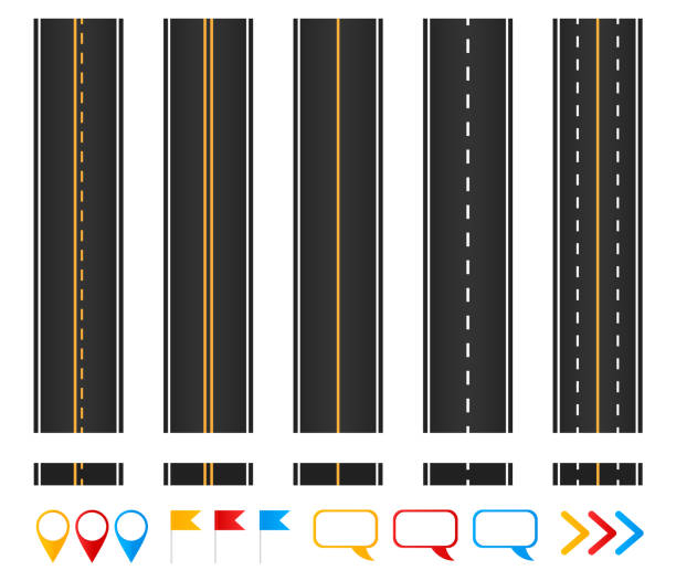 Roads. Set of seamless highways, brush templates and marking design elements. Roads. Set of seamless highways, brush templates and marking design elements. highway stock illustrations