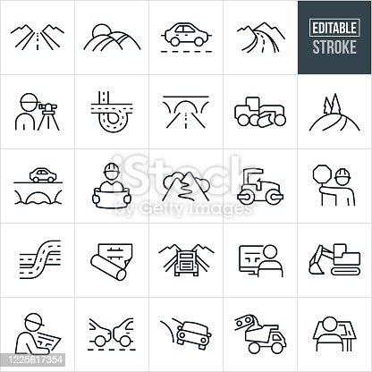 A set of roads and road construction icons that include editable strokes or outlines using the EPS vector file. The icons include a country road, highway, freeway, car driving on road, mountain road, surveyor, offramp, city road, bridge, earth grader, construction equipment, engineer with blueprints, construction worker, road roller, blueprint, excavator, traffic, dump truck, architect at drafting table and other related icons.