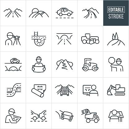 Roads Thin Line Icons - Editable Stroke