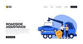 Roadside Assistance Concept Vector Illustration for Landing Page Template, Website Banner, Advertisement and Marketing Material, Online Advertising, Business Presentation etc.