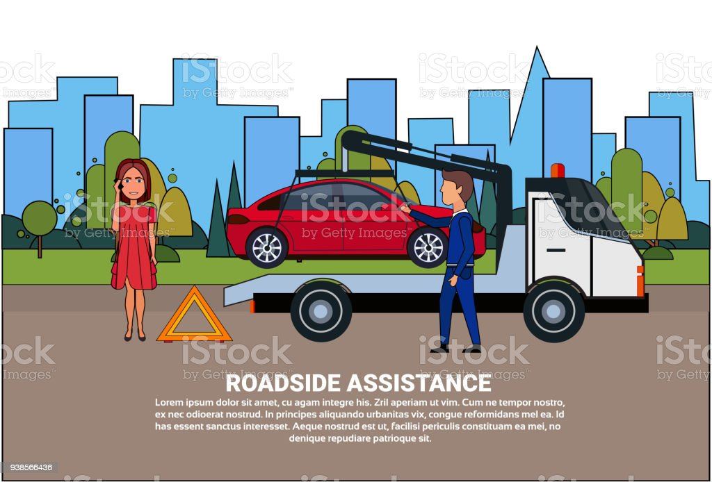 Roadside Assistance Towing Broken Car Over Driver Woman Calling In Insurance Service vector art illustration