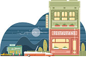 Easy editable vintage roadside  restaurant and intercity drivers vector  illustration. All elements was layered seperately...