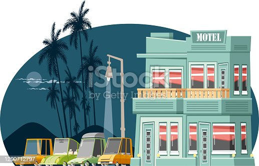 Easy editable roadside motel vector  illustration.. Every fact was groupped  seperately... Easy editable vector...