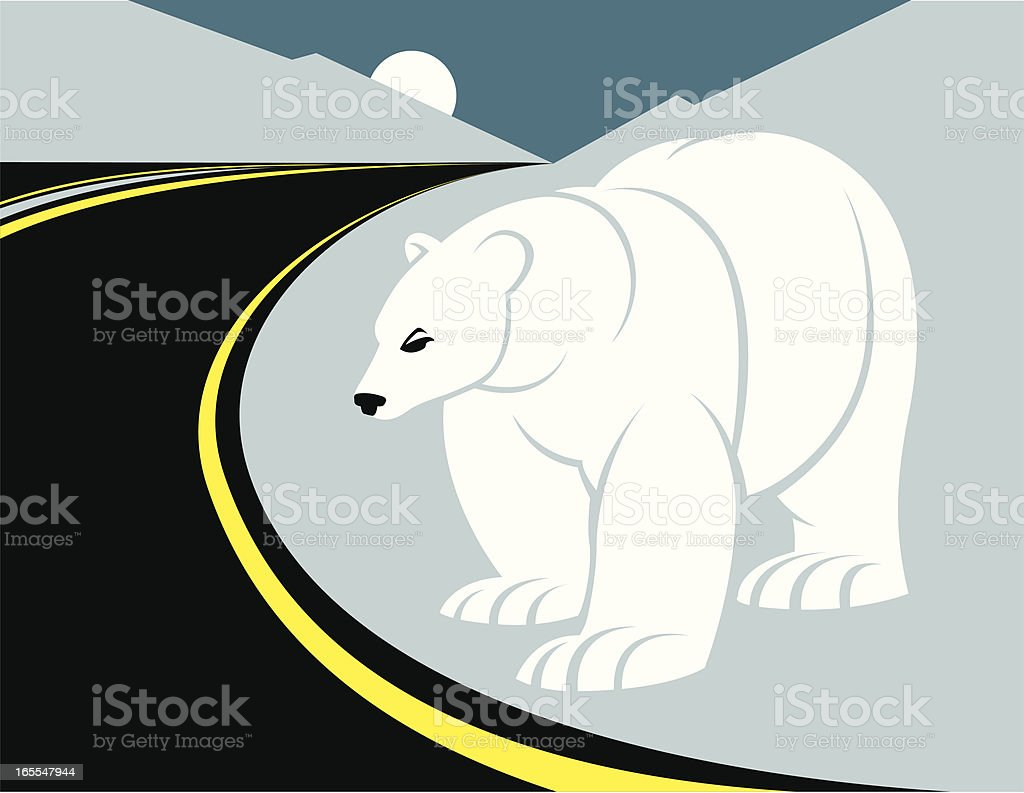 Roadside polar bear royalty-free stock vector art