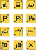Roadside services signs icon set