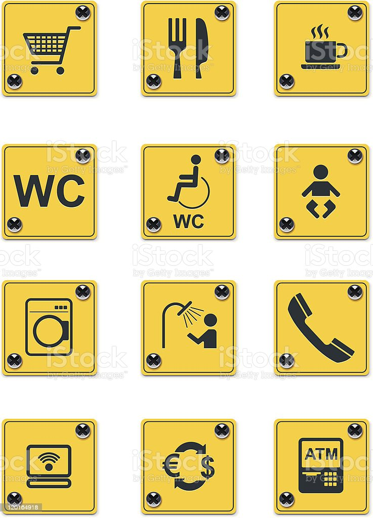 Roadside services signs icon set royalty-free stock vector art