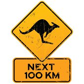 Yellow Kangaroo roadsign with next 100 km additional table. EPS version 10 with transparency included in download.