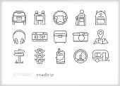Set of 15 road trip line icons for family vacations in the car, including steering wheel, license plate, cooler, headphones, backpack, camera, map, camper, speedometer, gas station and road sign