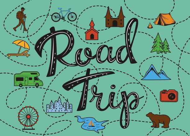 Roadtrip poster with a stylized map with points of interest and sighseeing for travelers Roadtrip poster with a stylized map with points of interest and sighseeing for travelers like city, old castle, monastery, fan fair, beach, sea, forest, mountain, zoo, camping place, biking and hiking routes road trip stock illustrations