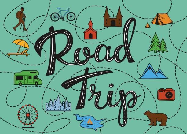 stockillustraties, clipart, cartoons en iconen met roadtrip poster met een gestileerde kaart met punten van belang en rondwandelen voor reizigers - caravan