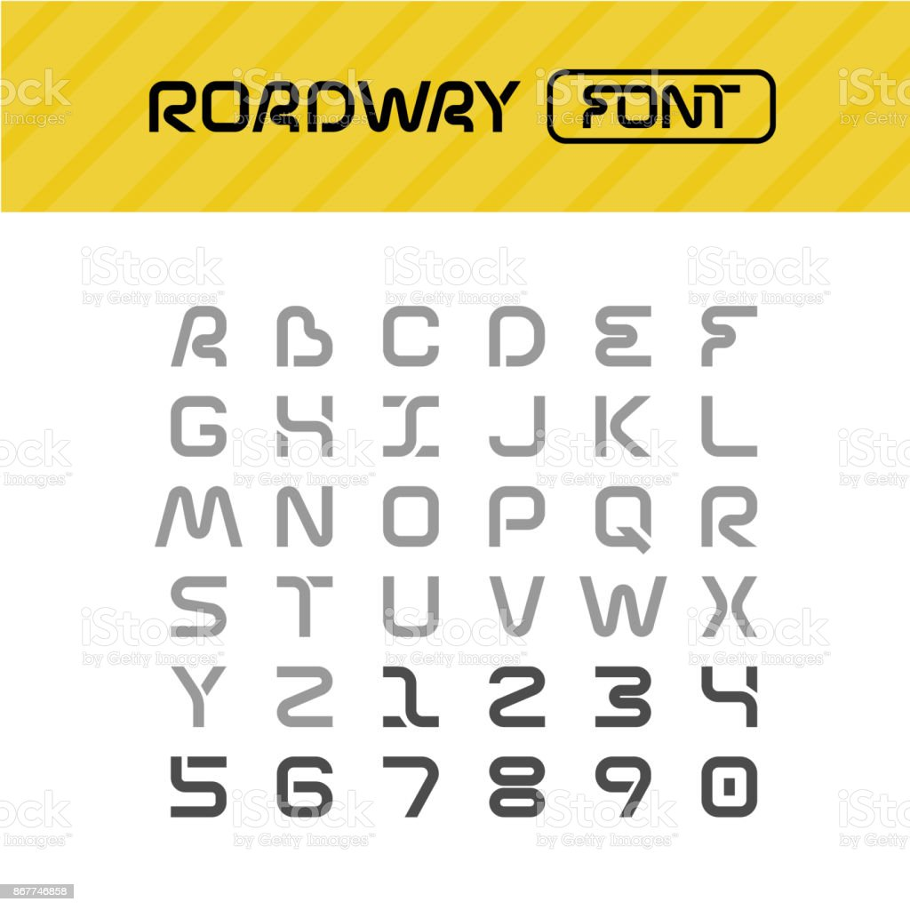 Roadway font. Drive way path style letters set. vector art illustration